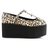 Leopard toile 8 cm CLICK-08 plateforme chaussures lolita