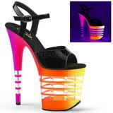 Multicolore Neon 20 cm Pleaser FLAMINGO-809UVLN Plateforme Haut Talon