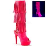Neon Similicuir 15 cm DELIGHT-2019-3 bottes a frangees pour femmes a talon