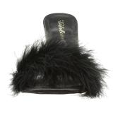 Noir 10 cm CLASSIQUE-01F mules femmes avec plumes de marabout