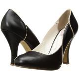 Noir 10 cm SMITTEN-04 Pinup escarpins femmes à talons bas