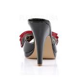 Noir 10 cm retro vintage SIREN-06 Pinup mules femmes avec nœud papillon
