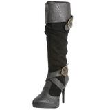 Noir 11,5 cm CARRIBEAN-216 plateformes bottes à boucles pour femmes