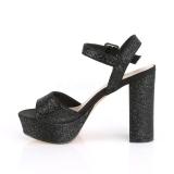 Noir 11,5 cm CELESTE-09 sandales à talon carré et plateforme glitter
