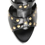 Noir 11,5 cm GLADIATOR-208 spartiates hautes genoux sandales gladiateur