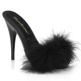 Noir 13 cm POISE-501F plumes de marabout Mules Chaussures