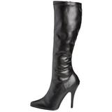 Noir 13 cm SEDUCE-2000 bottes à talon aiguille similicuir