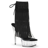Noir 15,5 cm DELIGHT-1017TF bottines a frangees pour femmes a talon
