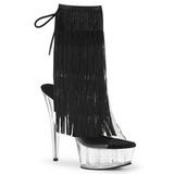 Noir 15 cm DELIGHT-1017TF bottines a frangees pour femmes a talon