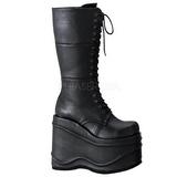 Noir 15 cm WAVE-302 bottes lolita gothique semelles épaisses
