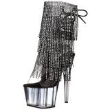 Noir 18 cm ADORE-1017RSFT bottines a frangees pour femmes a talon