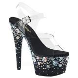 Noir 18 cm ADORE-708ROSE chaussures à talons plateforme strass