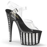 Noir 18 cm ADORE-708VLRS chaussures à talons plateforme strass