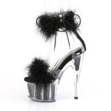 Noir 18 cm ADORE-724F sandales à talons hauts et plumes pole dance