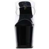 Noir 18 cm DIAMOND-702 Pantoufles Talons Hauts Pierres Strass