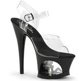 Noir 18 cm MOON-708TG Chaussures Plateau Talon Haut