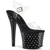 Noir 18 cm RADIANT-708SDT chaussures à talons plateforme strass