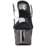 Noir 18 cm SKY-302SRS Pierre strass plateforme mules femme