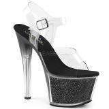 Noir 18 cm SKY-308G-T etincelle sandales avec plateforme
