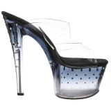 Noir 18 cm STARDUST-702T Pierre strass plateforme mules femme