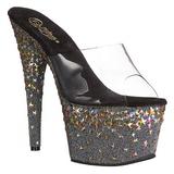 Noir 18 cm STARSPLASH-701 Etoile Plateforme Chaussures Mules