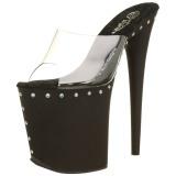 Noir 20 cm FLAMINGO-801ABLS Pierre strass plateforme mules femme