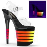 Noir 20 cm FLAMINGO-808UVLN Plateforme Neon Sandales Femmes
