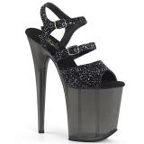 Noir 20 cm FLAMINGO-874 etincelle sandales avec plateforme