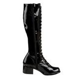 Noir 5 cm RETRO-302 bottes à lacets talons carrés - vernis bottes années 70