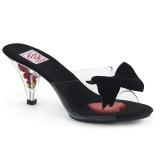 Noir 7,5 cm BELLE-301BOW Pinup mules femmes avec nœud papillon