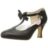 Noir 7,5 cm FLAPPER-11 Pinup escarpins femmes à talons bas