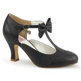 Noir 7,5 cm retro vintage FLAPPER-11 Pinup escarpins femmes à talons bas