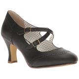 Noir 7,5 cm retro vintage FLAPPER-35 Pinup escarpins femmes à talons bas