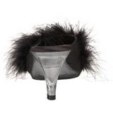 Noir 8 cm BELLE-301F plumes de marabout Mules Chaussures