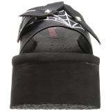 Noir 9 cm FUNN-30 Plateforme Tongs Gothique Femmes