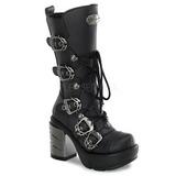 Noir 9 cm SINISTER-203 plateformes bottes à boucles pour femmes