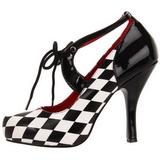 Noir Blanc 10,5 cm HARLEQUIN-03 Chaussures pour femmes a talon