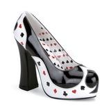Noir Blanc 13 cm POKER-21 Chaussures pour femmes a talon