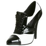 Noir Blanc 13 cm SEDUCE-458 Oxford Chaussures pour femmes a talon