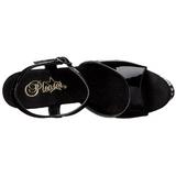 Noir Cristal Pierre 20 cm STARDUST-809 Chaussures Plateau Talon Haut
