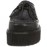Noir Cuir 5 cm CREEPER-402 Chaussures Creepers Hommes Plateforme