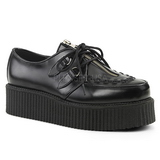 Noir Cuir 5 cm CREEPER-440 Chaussures Creepers Hommes Plateforme