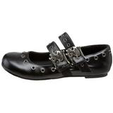 Noir DAISY-03 chaussures ballerines gothique talons plates