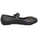 Noir DAISY-09 chaussures ballerines gothique talons plates