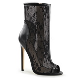 Noir Filet 13 cm SEXY-1008 Open Toe Bottines Femmes Talons Hauts