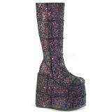 Noir Glitter 18 cm STACK-301G bottes demonia - bottes de cyberpunk unisex