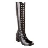 Noir Mat 5 cm RETRO-302 Bottes à Lacets Femmes