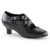 Noir Mat 5 cm retro vintage DAME-02 escarpins à talons hauts