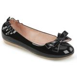 Noir OLIVE-03 ballerines chaussures plates avec nœud papillon