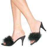 Noir Plumes 8 cm AMOUR-03 Chaussures Mules pour Hommes